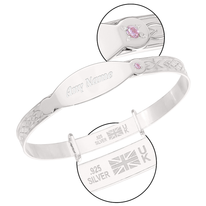 Sterling Silver Bangle with a Celtic Designed Band and ID Plate for Personalization (Multi-font) with a Pink CZ