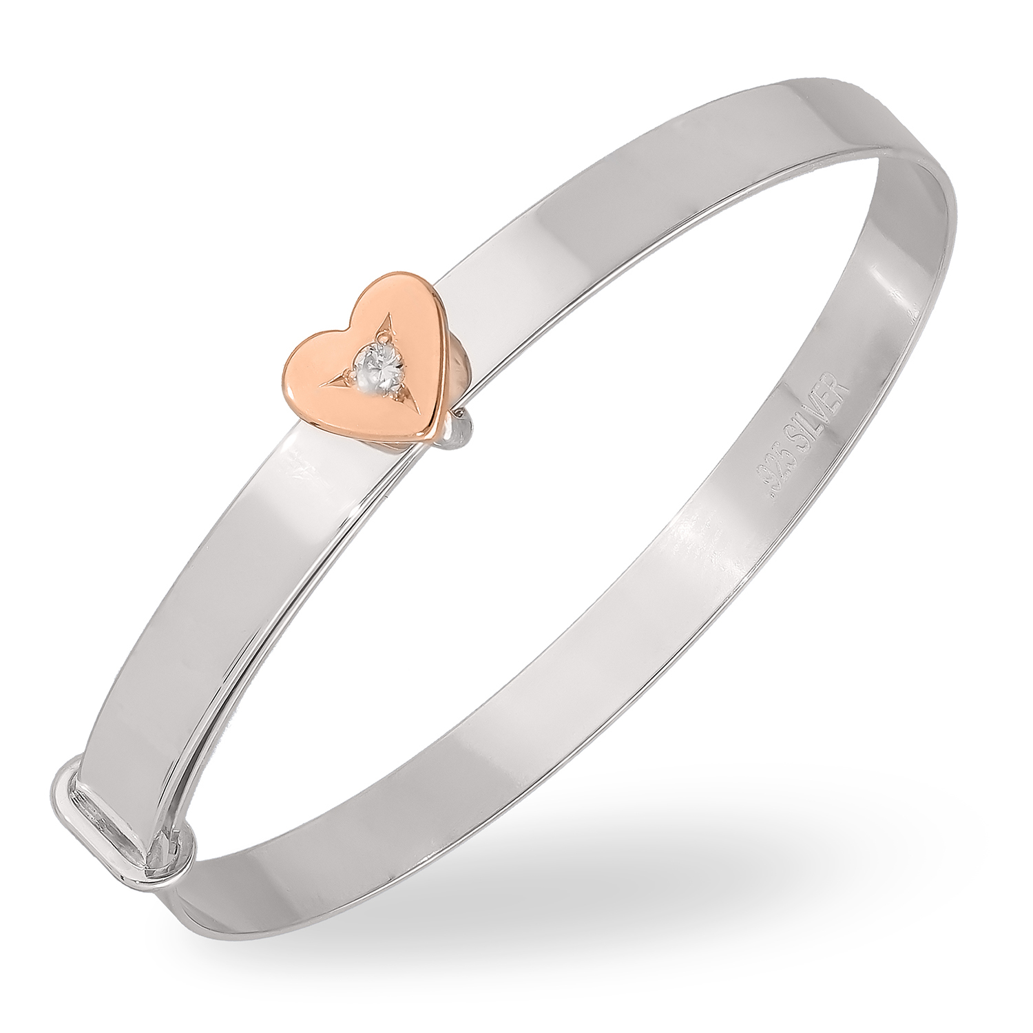 Sterling Silver Bangle with a Rose Gold Plated Heart, White CZ, and Personalization on the Band