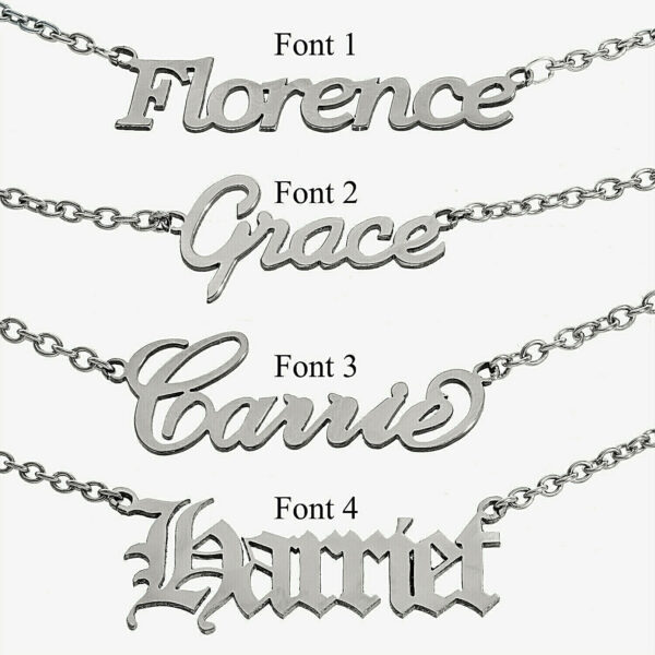 Customized Your Name Necklace Steel Nameplate Custom Made Womens Jewelry Gift