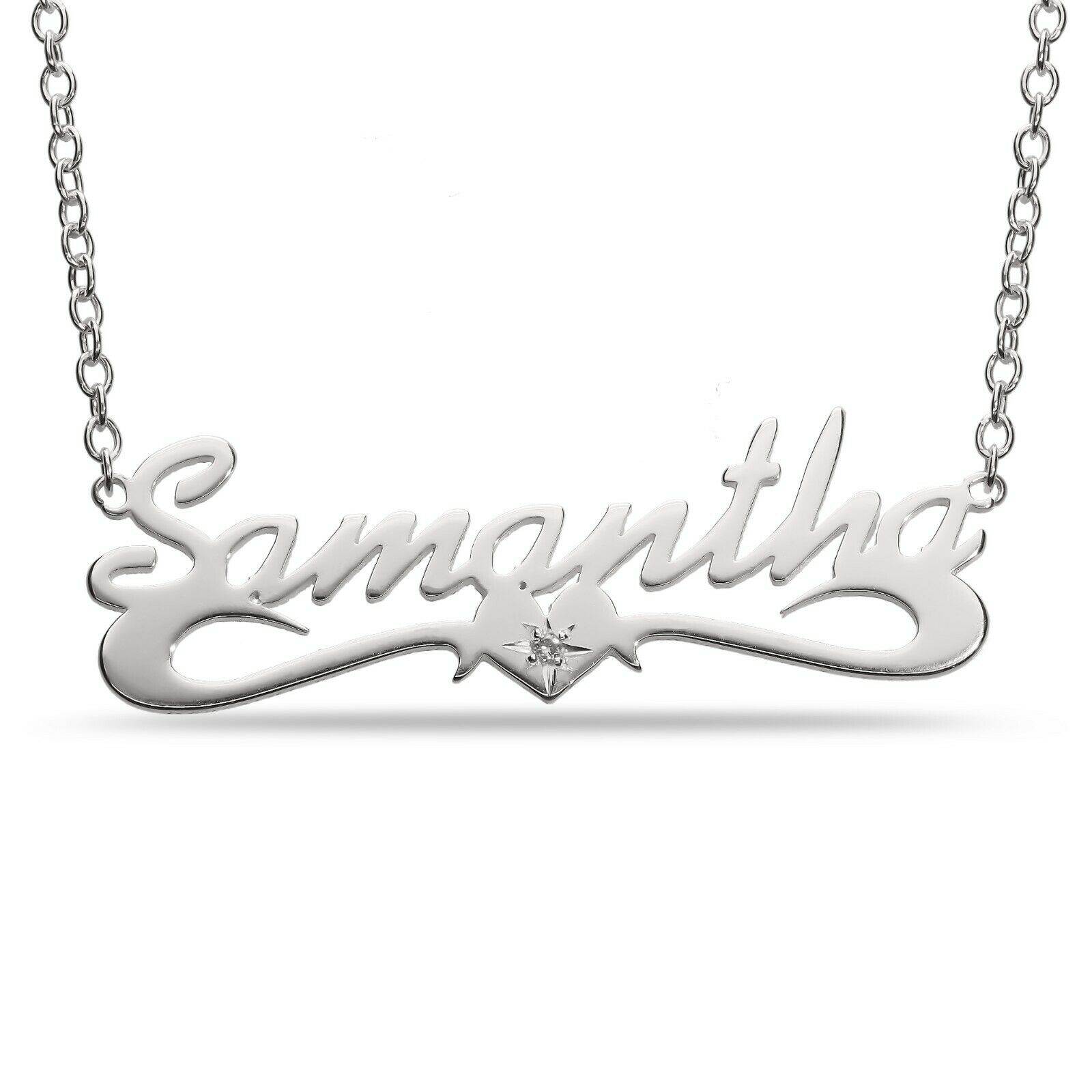 Diamond Stone Necklace customize ANY NAME Sterling Silver Pendant Chain Gift