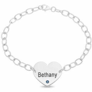 "Engravable 7.5"" Bracelet Any Name + Birthstone Sterling Silver Wristwear Gift"
