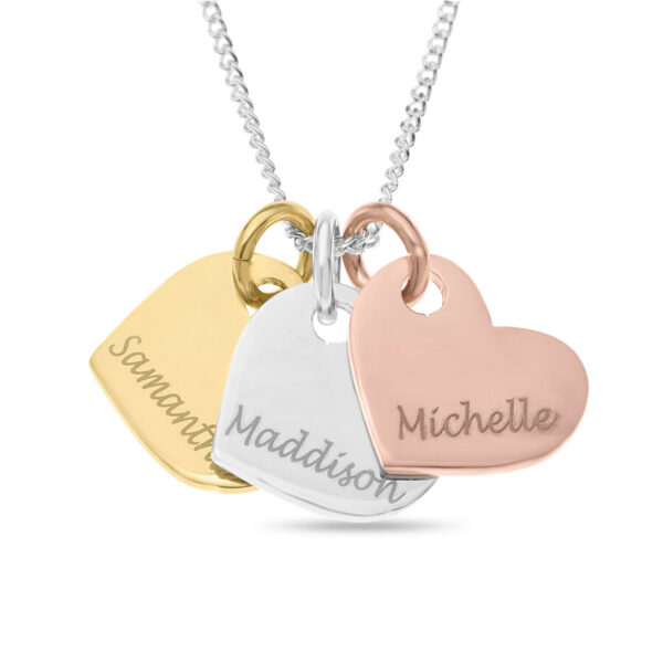 """Engravable Heart ANY NAME 18"""" Necklace Silver, Gold + Rose Gold Pendant Gift"""