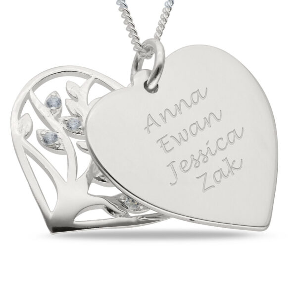 Engravable Mother's Heart Pendant Sterling Silver Family Tree 4 Name Necklace