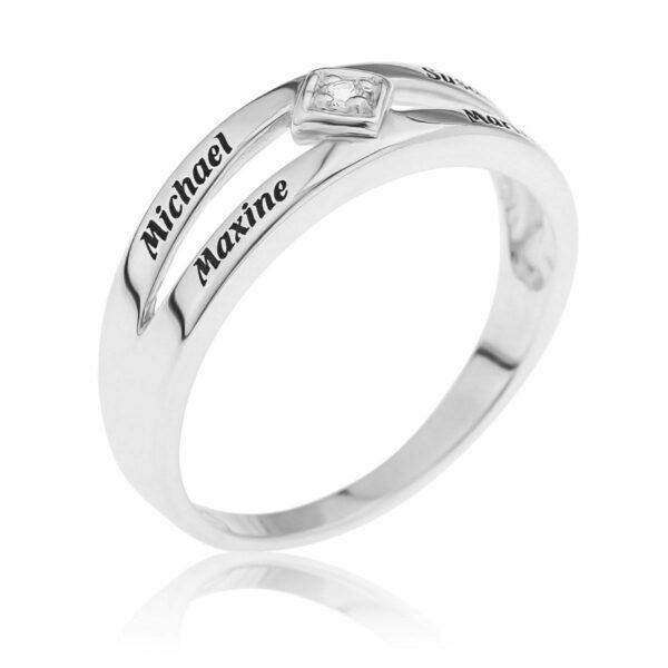 Ladies White Topaz Stone Split Band Ring in Sterling Silver Engravable 4 Names
