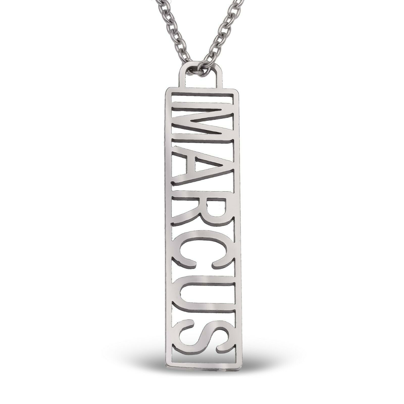 Mens Ladies Personalized Nameplate Dog Tag Necklace Chain Stainless Steel Gift