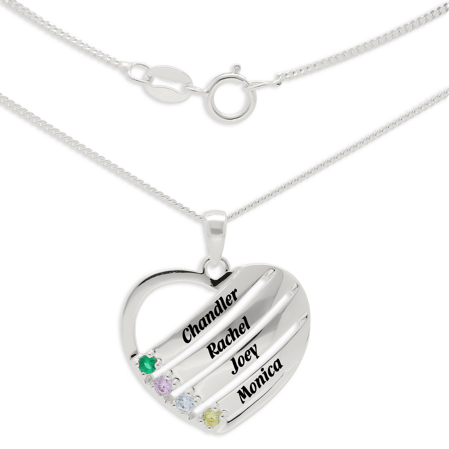 Mother's Birthstone Engravable Name Heart Pendant 4 Stones Names Sterling Silver