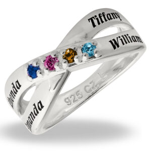 Mother's Engravable Family 4 Names Birthstone Sterling Ring Customized Keepsake