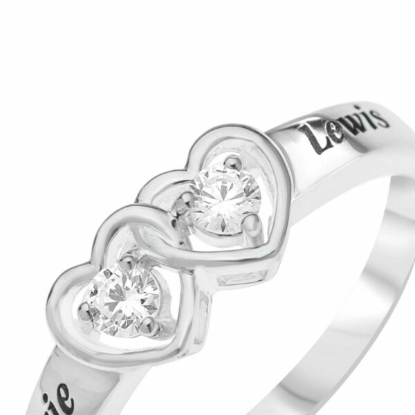 Mother's Heart Birthstone Ring in Sterling Silver Engravable 2 Names + 2 Stones