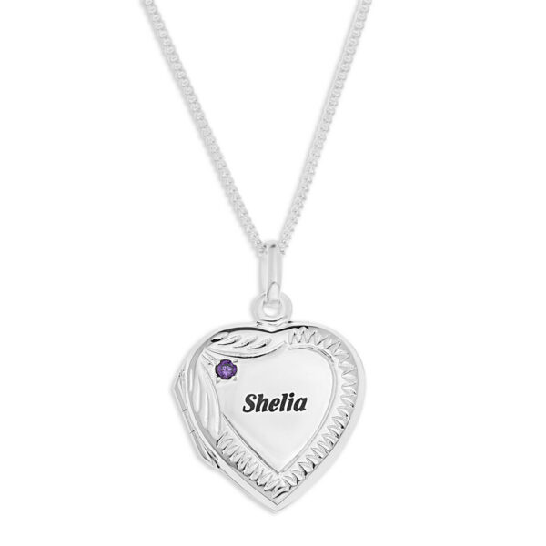 Mother's Heart Locket Sterling Silver Necklace + Birthstone ANY NAME Engravable