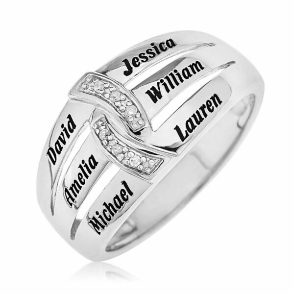 Mother's Precious Stone Ring in Sterling Silver Any 6 Names Personalized Gift