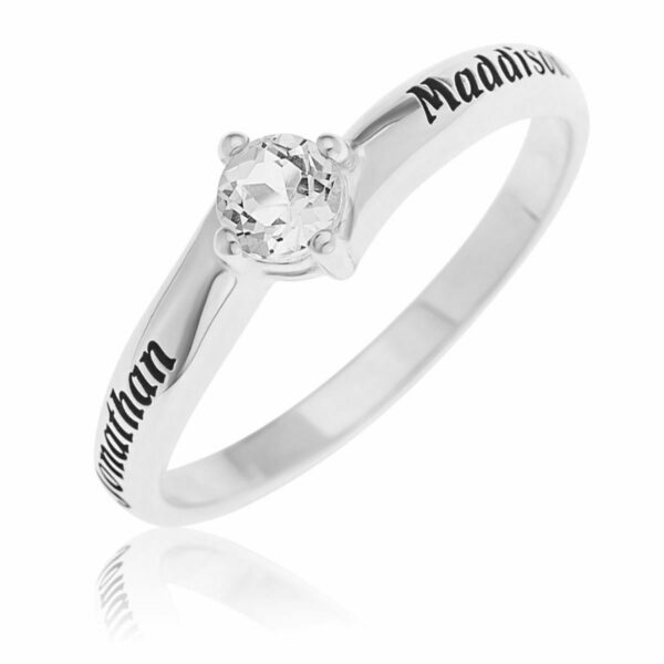 Personalize 4.5mm White Topaz Promise Ring in Sterling Silver 2 Names Engravable