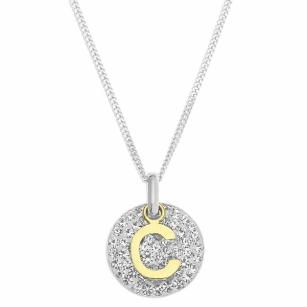 """Personalized Gold Initial Pendant Silver Crystal 18"""" Necklace (A-Z) Gift for Her"""