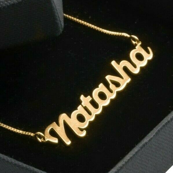 Personalized Gold Necklace Your Name Large Pendant Name Necklace