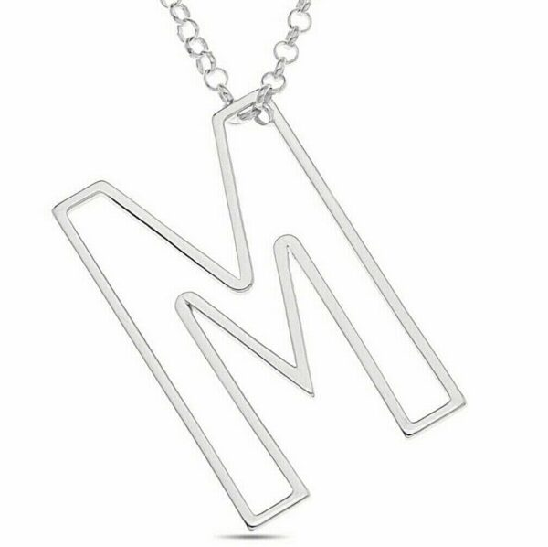 Personalized Large Initial Letter Pendant Necklace Sterling Silver Jewelry Gift