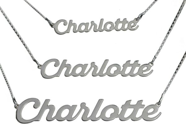 Personalized S M L Sterling Silver Any Name Necklace Customize Nameplate Pendant