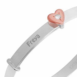 Rose Gold Personalized Sterling Silver Baby Bangle Christening Bracelet + Heart