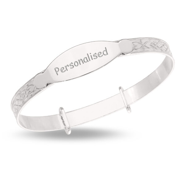 Sterling Silver Bangle with a Celtic Designed Band and ID Plate for Personalization (Multi-font)