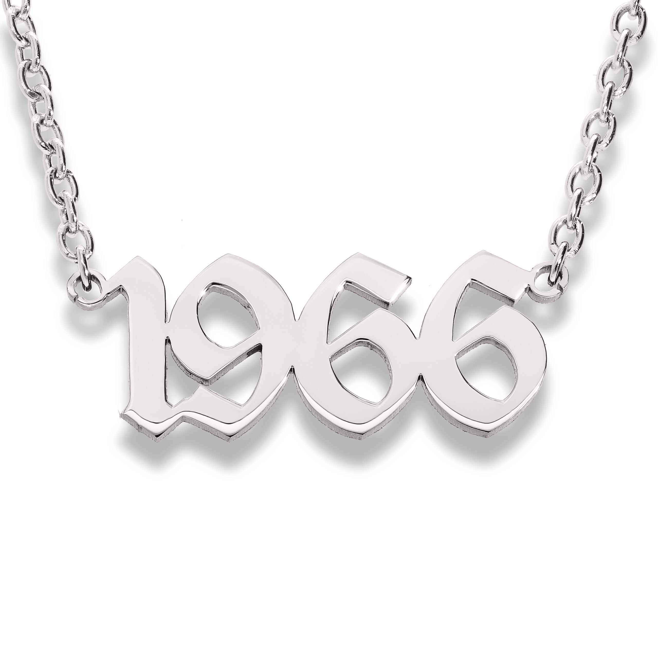Stainless Steel Calligraphic Style with a Rounded Stainless Steel Chain (Year)