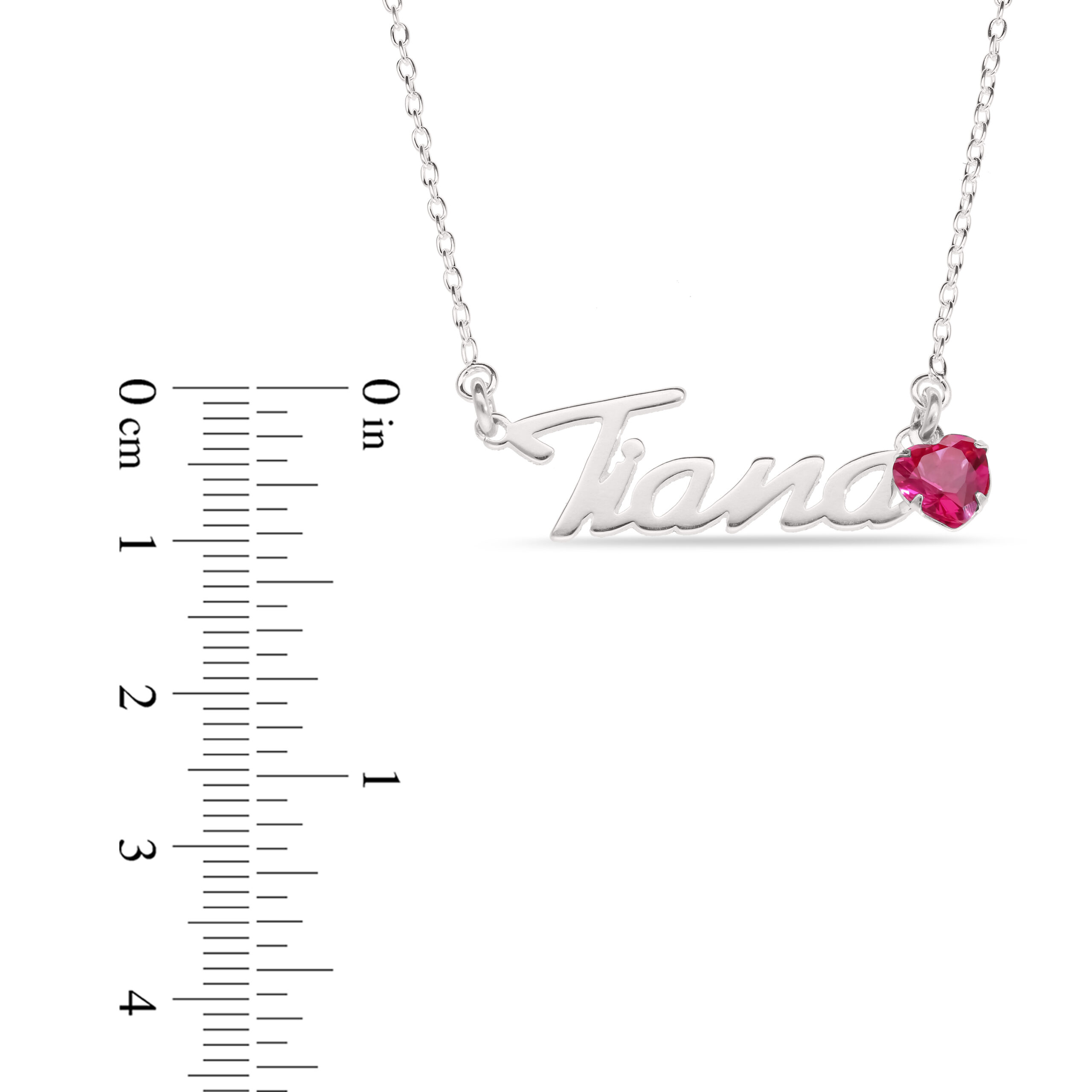 Sterling Silver Handwritten Script Style with a Heart Shaped Birthstone and Sterling Silver Curb Chain