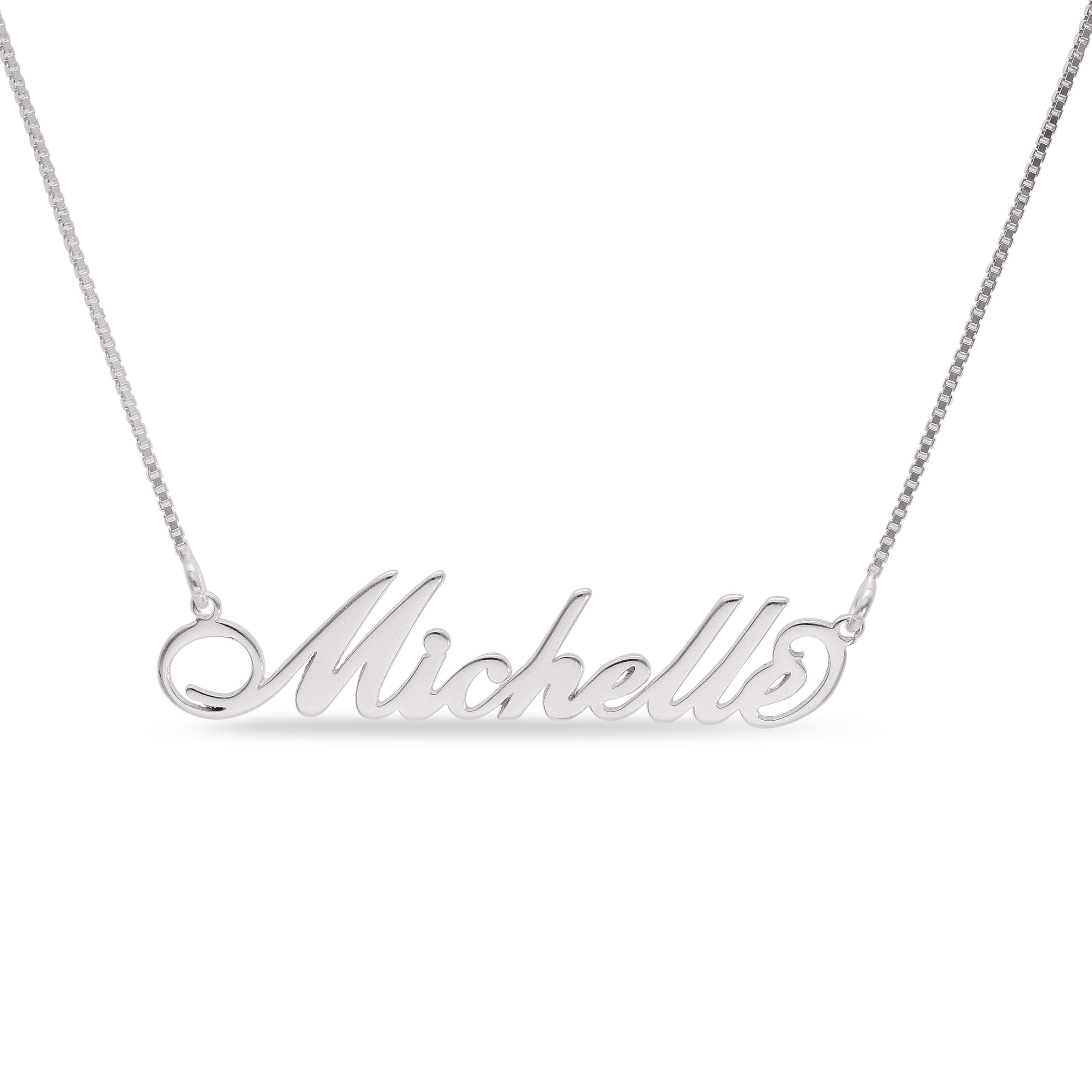 Sterling Silver Decorative Handwritten Script Style with a Sterling Silver Box Chain