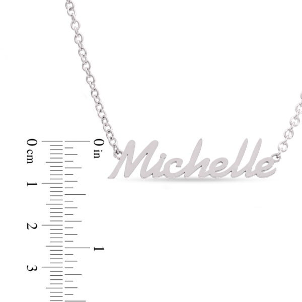 Stainless Steel Handwritten Script Style with a rounded Stainless Steel Chain