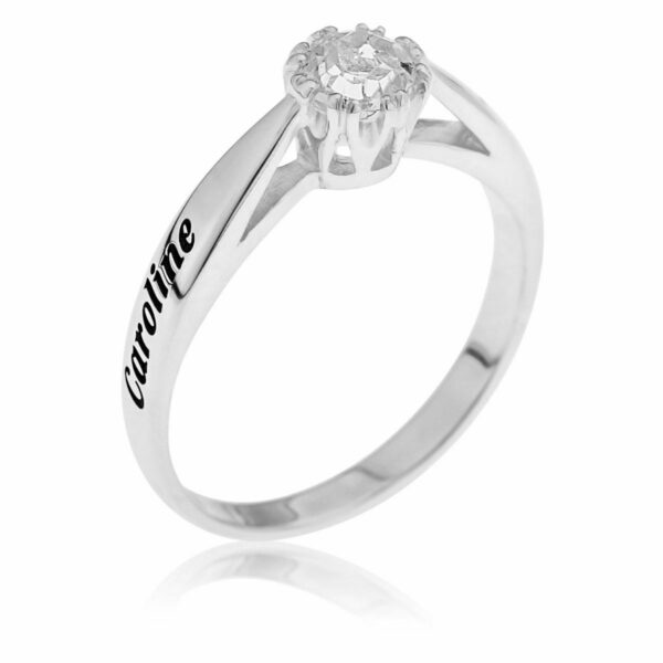 White Topaz Promise Ring in Sterling Silver Anniversary Gift Engravable 2 Names