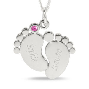 """Baby Feet 925 Sterling Silver Personalised Pink Blue CZ Set Circle Pendant 18"""""""